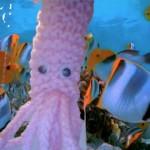 Finger Fighting Squid by Tourist Knitter in London , UK