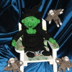 Elphaba and the flying monkeys knit by Sheila in ME, USA