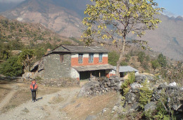 "Sikha (1935m) to Tatopani (1200m) – Trek Day Four: ""My name is Large Joyous Wisdom."""